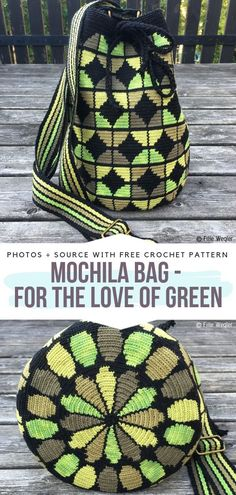 Mochila Bag - For the love of Green Free Crochet Pattern #crochetbag