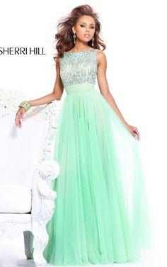Green V-Back Sherri Hill 11022 Prom Dress 2014