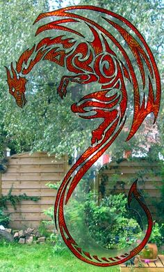 WICOART STICKER WINDOW COLOR CLING FAUX STAINED GLASS DOODLE DRAGON RAMPANT