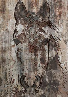 "Black Angel. Large modern horse print up to 60"", Large horse wall art canvas, Horse Art Print, Horse Wall Decor by Irena Orlov"