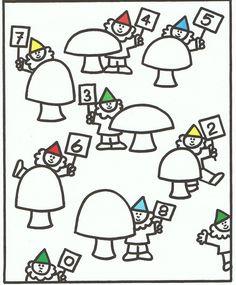 Werkblad kabouters en paddenstoelen