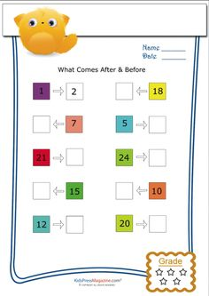 A great way to encourage kids to think about counting forwards and backwards, this colorful number worksheet creates the basis for skills Mental Maths Worksheets, English Worksheets For Kindergarten, Hindi Worksheets, 1st Grade Worksheets, Number Worksheets, First Grade Homework, Math Sheets, Cute Cartoon Wallpapers, Fun Math