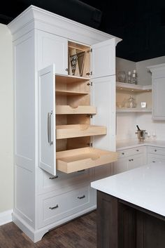 Uplifting Kitchen Remodeling Choosing Your New Kitchen Cabinets Ideas. Delightful Kitchen Remodeling Choosing Your New Kitchen Cabinets Ideas. Kitchen Pantry Design, Kitchen Pantry Cabinets, Kitchen Redo, Kitchen And Bath, Kitchen Storage, Pan Storage, Kitchen Ideas, Kitchen Corner, Kitchen Stuff