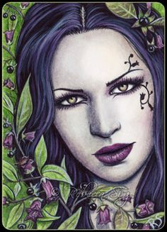 """""""Deadly Nightshade"""" -- the 3rd and newest in my Pretty Poisons ACEO series."""