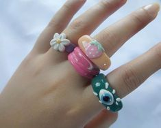 Fimo Ring, Polymer Clay Ring, Polymer Clay Flowers, Clay Jewelry, Jewlery, Diy Clay Rings, Accesorios Casual, Chunky Rings, Ring Crafts