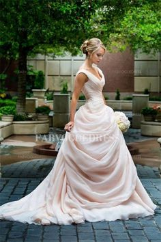 One of my favorites!!  A-Line/Princess off-the-shoulder Chapel Train Chiffon Wedding Dress