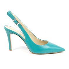 V 1969 Italia Womens Slingback Pump Adelasia Leather Heels, Calf Leather, Manolo Blahnik Heels, Slingback Pump, Beautiful Shoes, Versace, High Heels, Pumps, Turquoise