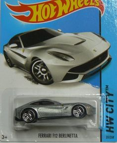 Hot Wheels HW City Ferrari F12 Berlinetta - Silver:   Since 1968, Hot Wheels cars have thrilled the kids who grow up with them, and the adults who collect them. Get a piece of that high-octane joy for yourself, or give it to someone who loves awesomely detailed cars in 1:64 scale.