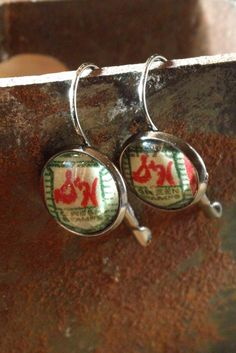 Upcycled S & H Green Stamps Lever Back Earrings by SalvagedJewelry, $8.00
