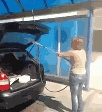 So this woman was washing the car