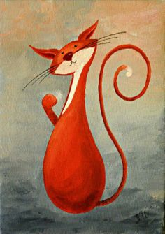 Original Cat Painting for Sale : Fantasy Cats Curious Cat in Orange Illustrations, Illustration Art, Curious Cat, Rainbow Art, Cat Colors, Naive Art, Painting Lessons, Cat Drawing, Pictures To Paint