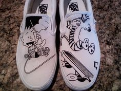 #CalvinandHobbes Painted Shoes
