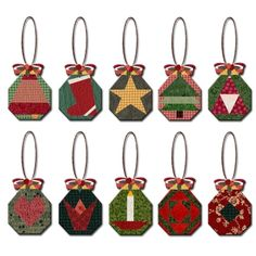 Paper+Christmas+Ornaments | Paper Pieced Octagon Ornaments