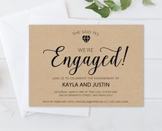 Diy Greenery Engagement Party Invitation Template  Engagement