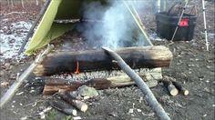 Make A Campfire Last All Night - Scandinavian 2-log fire. Good preparation yields low maintenance long-lasting fire.