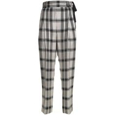 3.1 Phillip Lim Check Side-Ties Viscose Trousers (38,005 INR) ❤ liked on Polyvore featuring pants, multicolor, checked pants, white high waisted trousers, colorful pants, high rise trousers and high-waist trousers