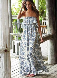2015 New Fashion Women Summer long maxi dress Slash neck Print Sleeveless maxi dresses long Dress vestidos festa longo Look Fashion, Fashion Women, Street Fashion, Dress Fashion, Fashion Clothes, Beach Fashion, Fashion Styles, Latest Fashion, Gypsy Fashion