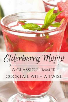 Elderberry Mojito- A classic summer cocktail with a twist! Elderberry Ideas, Elderberry Recipes, Elderberry Syrup, Cocktail Syrups, Cocktail Ideas, Cocktail Recipes, Coffee Cocktails, Summer Cocktails, Elderberry Cocktail
