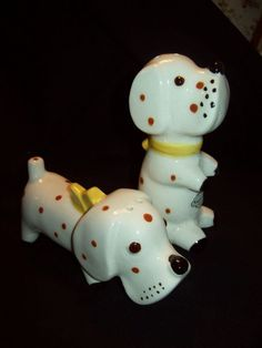 NAPCO Vintage Salt and Pepper of two dogs with red polka dots