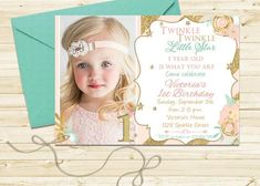 Twinkle Twinkle Little Star Invitation for Girl Printable or Printed Editable Invitation Template First Birthday Blush Pink Gold Party Ideas Invitation Design, Invitation Cards, Pink And Gold Invitations, Pink Gold Party, Star Clipart, Flower Girl Headbands, 1st Birthday Invitations, Letter Size Paper
