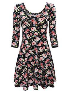 Hryfashion Women Trendy Floral Long Sleeve Skater Dress HRYCWD100-BLACK-US XL HRYfashion http://www.amazon.com/dp/B016UHMXYW/ref=cm_sw_r_pi_dp_JXjzwb193D8BB