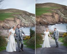 A vintage inspired wedding in Dingle, Co.Kerry Ireland. The bride wore a 1930s inspired dress and Jimmy Choos. From Bridal Musings wedding blog. I love the dress and the grey suit on the groom is cool. Amazing backdrop for their pictures as well!