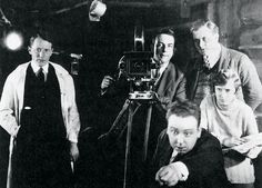 Alfred Hitchcock during the making of his first film. His wife Alma Hitchcock is at his side.