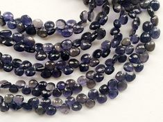 Iolite Faceted Heart Beads Natural Iolite Heart by gemsforjewels