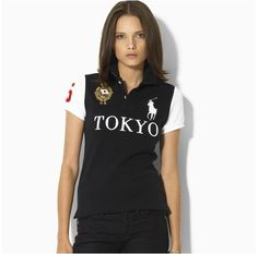 Ralph Lauren Womens Skinny-Fit Tokyo City Short-sleeved Polo Black