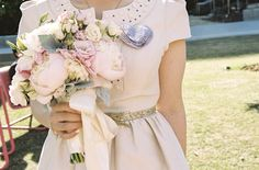 pink peony bridal bouquet  | photos by Braedon Flynn | 100 Layer Cake