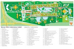 The map of Taman Mini Indonesia Indah, Indonesian culture theme park in Southeastern Jakarta, Indonesia.