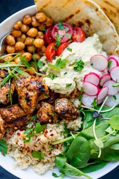 Spicy Chicken Nourish Bowl - A filling and nutritious warm salad, with middle eastern flavours -perfect for Fall. A healthier Autumn dinner. Lunch Recipes, Dinner Recipes, Cooking Recipes, Healthy Recipes, Warm Salad Recipes, Budha Bowl Recipe, Superfood, Clean Eating, Healthy Eating