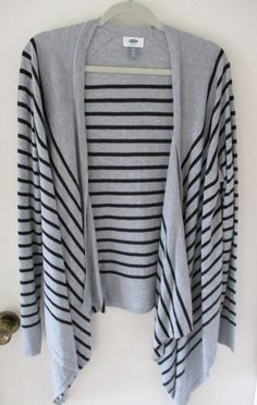 Old Navy Gray Black Stripe Open Drape Front Cardigan Sweater XL Womens Long  #OldNavy #Cardigan