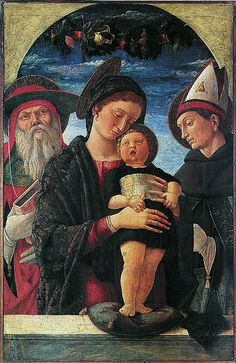Andrea Mantegna (Italian painter, c 1431–1506) Virgin and Child between St. Jerome and St. Louis of Toulouse, c. 1455