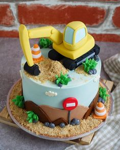 When the hero of the family is an excavator operator, of course they celebrate his big day with an excavator themed cake! Thank you & for sharing the joy of the celebration by tagging me in your heartwarming photos. Excavator Cake, Bob The Builder Cake, Digger Cake, Digger Birthday Cake, Police Cakes, Truck Cakes, Sculpted Cakes, Gingerbread Cake, Cakes For Boys