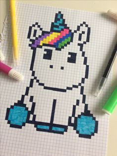 Digital PDF Pixel art kawaii unicorn 8 bit licorne pixel art facile dessin