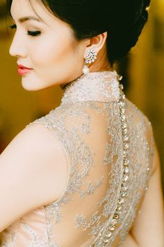 Illusion back cheongsam and earrings from Ben Amun | Blast from the Past: A Vintage Singapore Themed Styled Shoot
