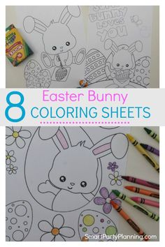 Totally gorgeous Easter bunny coloring sheets for kids that are available for free as an instant download. With eight different fun Easter bunny pictures to color, they will keep the kids occupied for hours. This is a fun free Easter printable that you don't want to miss out on. #Easter #Bunny #ColoringSheets