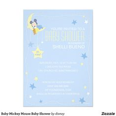 """Baby Mickey Mouse Baby Shower 5"""" X 7"""" Invitation Card / disney"""