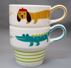 stacking mugs from decole... cute tails wrapping around the handle!