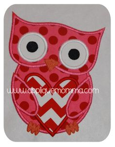 Applique Momma's Valentine Owl 3 Applique Design