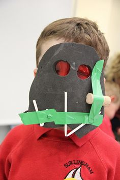 Mask-making workshop at the Sainsbury Centre, led by artist Caitlin Howells.