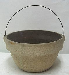 Vintage Antique Cooking Pot Stoneware Crock Bowl with Bail Wire Handle | eBay