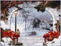 Téli táj háttérképek - images.qwqw.hu Merry Christmas, Xmas, Christmas Decorations, Animation, Cards, Night, Fiestas, Happy, Postcards