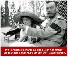 Anastasia with her father, two years before their deaths.