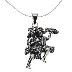 ShalinIndia Necklace Hanuman Pendant Chain Sterling Silver Jewelry Indian
