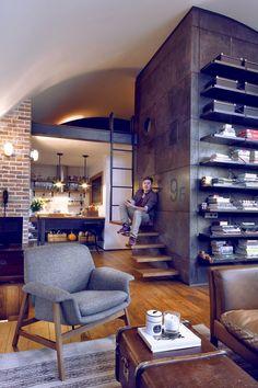 Jurnal de design interior - Amenajări interioare : Amenajare masculină într-un loft din Sofia
