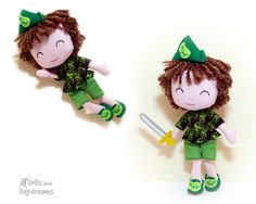 Peter Pan Sewing Pattern PDF boy doll diy toy - NEW My Petit Poppet Line - jointed dress up fairy tale character