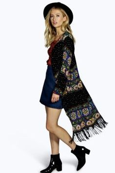 Martha All Over Printed Longline Kimono at boohoo.com