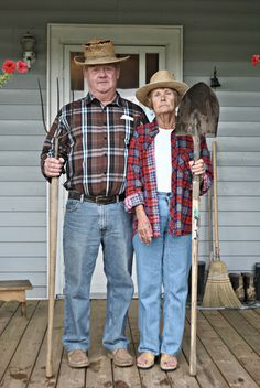 #Funny Family Photo #GrantWood   These are my Grandparents, They happily posed for this photo while taking a break from our Family Shoot :)